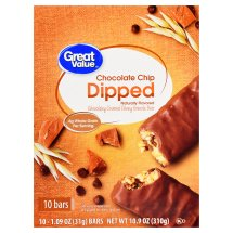 Great Value Dipped Chewy Granola Bars, Chocolate Chip, 10.9 oz, 10 Count