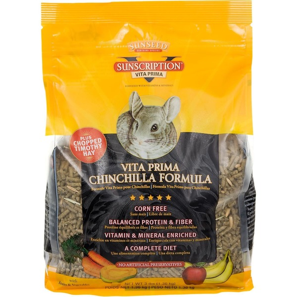 Sun Seed Sunscription Vita Prima Plus Chopped Timothy Hay Chinchilla Formula With Fruits & Vegetables