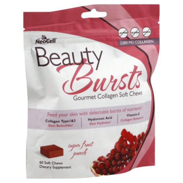 NeoCell Beauty Bursts Gourmet 2000 mg Collagen Soft Chews Super Fruit Punch