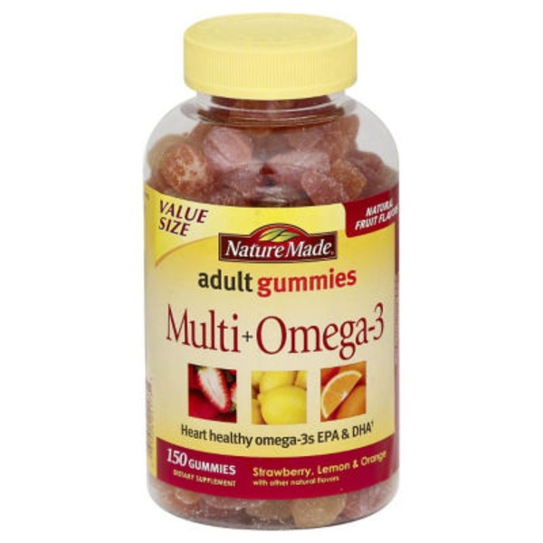 Nature Made Adult Gummies Multi + Omega-3 Strawberry, Lemon & Orange Flavors - 150 CT