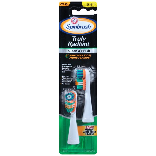 Arm & Hammer Spinbrush Truly Radiant Clean & Fresh Soft Replacement Brush Heads