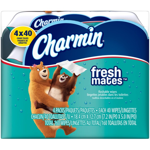 Charmin Fresh Cloths Charmin Freshmates 160 Count Refill Pack (4 Packs of 40 Count Fresh Wipes) Toilet Tissue