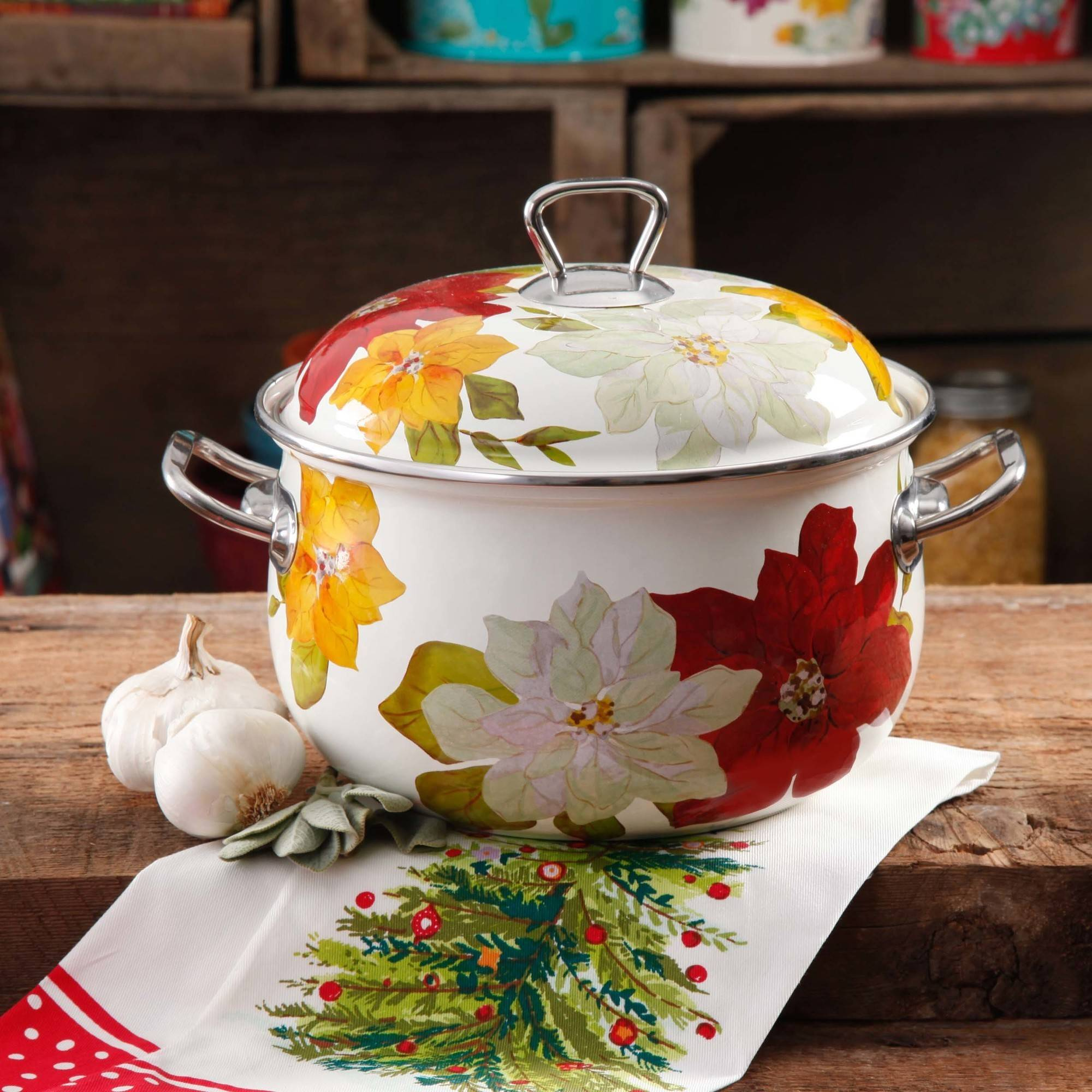 The Pioneer Woman Poinsettia Dutch Oven