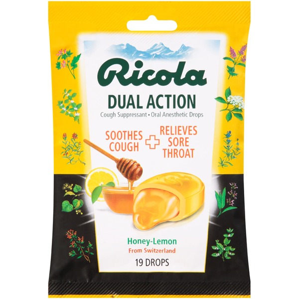 Ricola Dual Action Drops Honey-Lemon Cough Suppressant/Oral Anesthetic