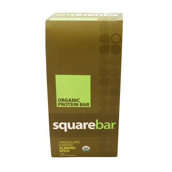 Squarebar Organic Chocolate Coated Almond Spice Protein Bar