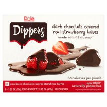 Dole® Dippers™ Dark Chocolate Covered Real Strawberry Halves 6-1.23 oz. Pouches
