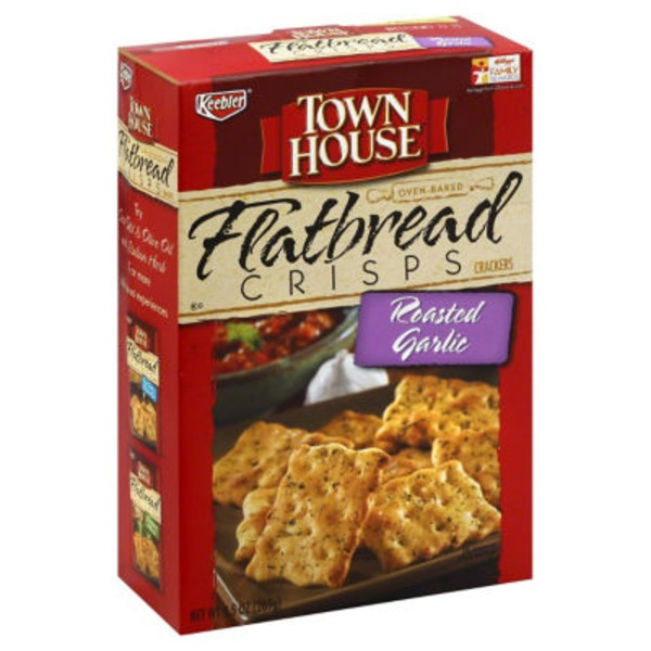 Keebler Town House Flatbread Crisps Roasted Garlic Crackers