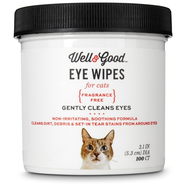 Well & Good Fragrance Free Round Eye Wipes For Cats