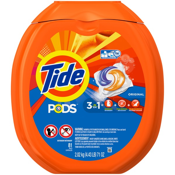 Tide PODS Laundry Detergent, Original, 81 count, Designed for Regular and HE Washers Laundry