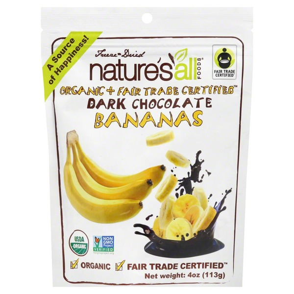 Nature's All Foods Bananas, Organic, Freeze Dried, Dark Chocolate