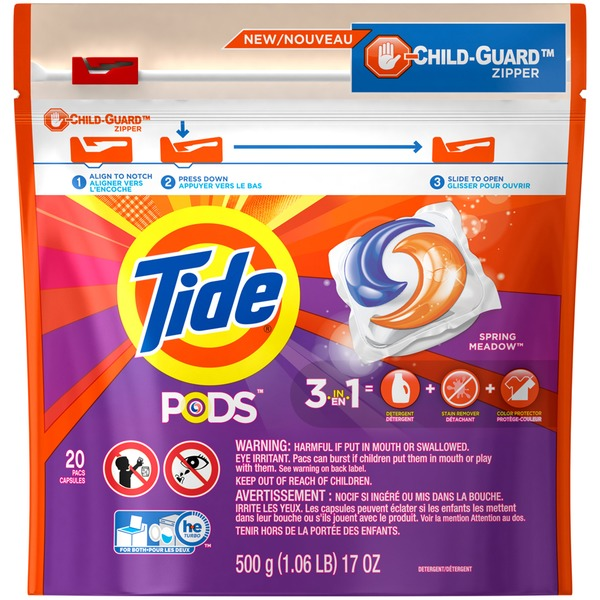 Tide PODS HE Turbo Laundry Detergent Pacs, Spring Meadow Scent, 20 count Laundry