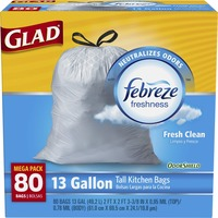Glad Odor Shield Febreze 13 Gallon Tall Kitchen Bags Fresh Clean - 80 CT