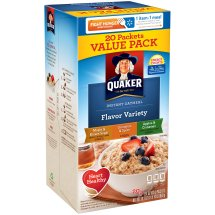 Quaker Flavor Variety Instant Oatmeal 20-1.51 oz. Packets