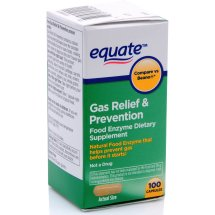 Equate Gas Relief & Prevention Food Enzyme Dietary Supplement Capsules, 100 Ct