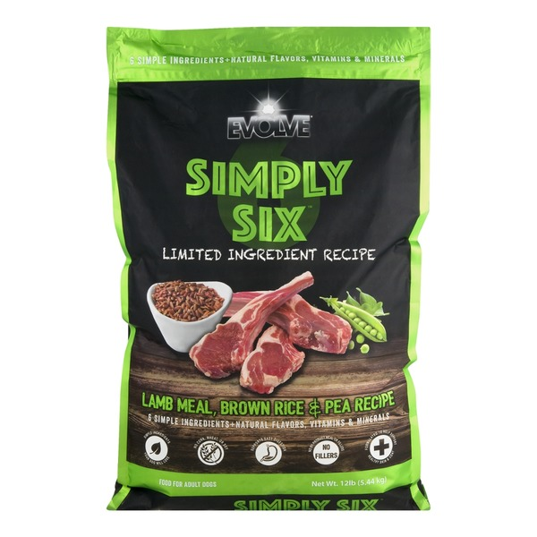 Evolve Simply Six Adult Dog Food Lamb Meal, Brown Rice & Pea Recipe