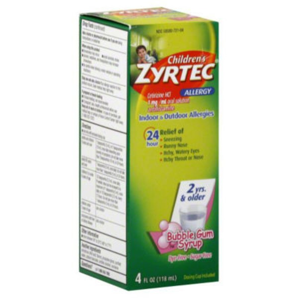 Children's Zyrtec® 1 Mg Bubble Gum Syrup (2 Yrs. & Older) Allergy 24 Hour