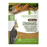 ZuPreem Natural Premium Daily Bird Food for Cockatiels, Quaker Parakeets, Ringneck Parakeets, Lovebirds, Meyer's Parrors and Other Medium Parrots