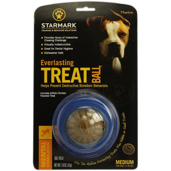Starmark Everlasting Treat Ball with Dental Treat Dog Chew Toy, Medium