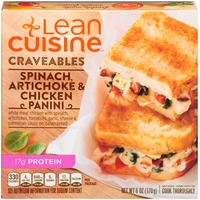 Lean Cuisine Craveables White meat chicken with spinach, artichokes, tomatoes, garlic, cheese, and Parmesan sauce on Italian bread Spinach, Artichoke & Chicken Panini