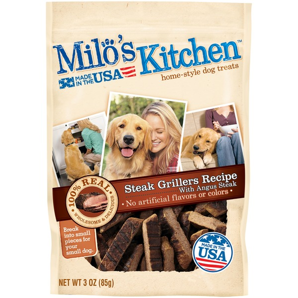 Milo's Kitchen Steak Grillers Beef Recipe with Angus Steak Dog Treats