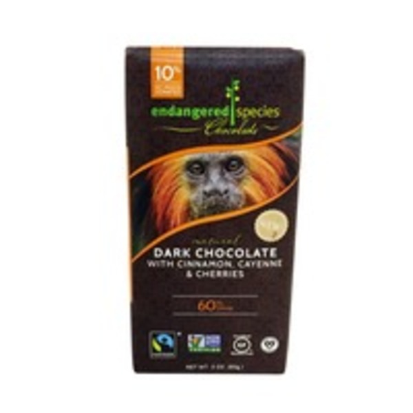 Endangered Species Dark Chocolate with Cinnamon Cayenne  & Cherries