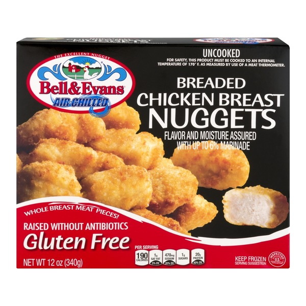 Bell & Evans Air Chilled Breaded Chicken Breast Nuggets Gluten Free