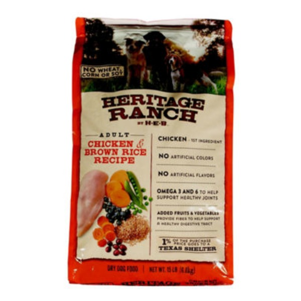 H-E-B Heritage Ranch Dry Dog Food, Chicken & Brown Rice