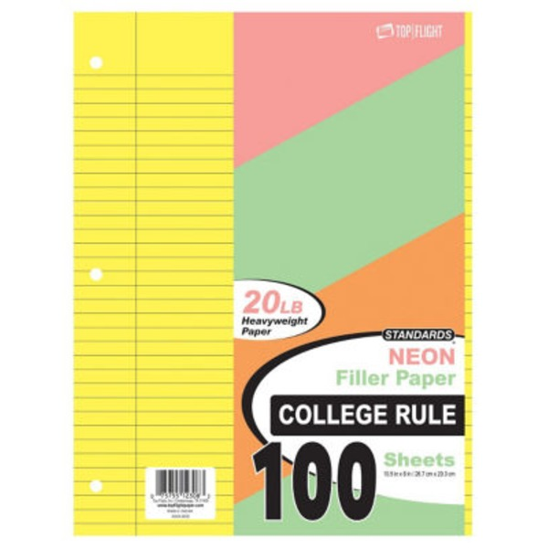 Top Flight Neon Filler Paper College Rule 100 Sheets