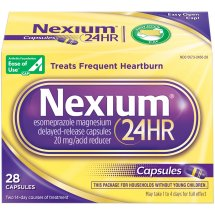 Nexium 24HR Delayed Release Heartburn Relief Capsules, Esomeprazole Magnesium Acid Reducer (20mg, 28 Count)