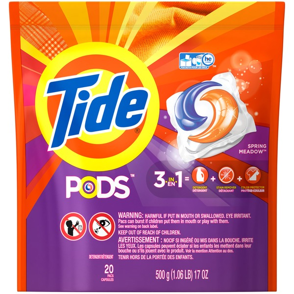 Tide PODS Laundry Detergent, Spring Meadow, 20 count, Designed for Regular and HE Washers Laundry