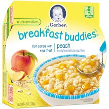 Gerber Breakfast Buddies Hot Cereal with Real Fruit, Peach, 4.5 oz Tray