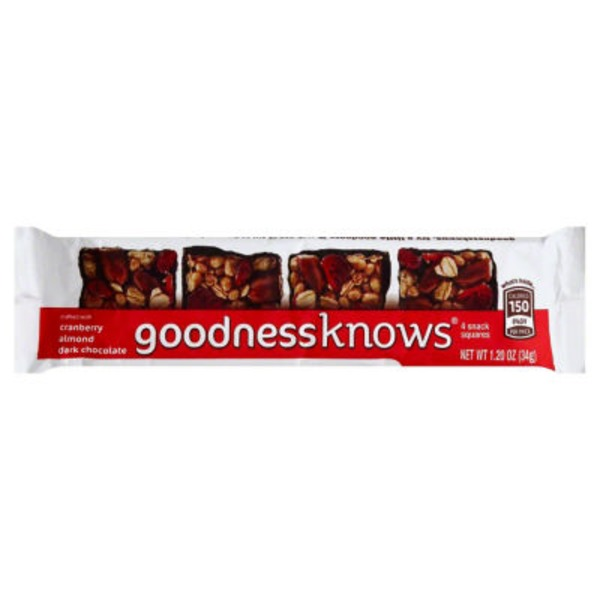 GoodnessKnows Snack Squares, Crafted with Cranberry Almond Dark Chocolate