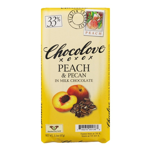 Chocolove Peach & Pecan In Milk Chocolate