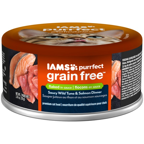 Iams Purrfect Grain Free Saucy Wild Tuna & Salmon Dinner Premium Cat Food