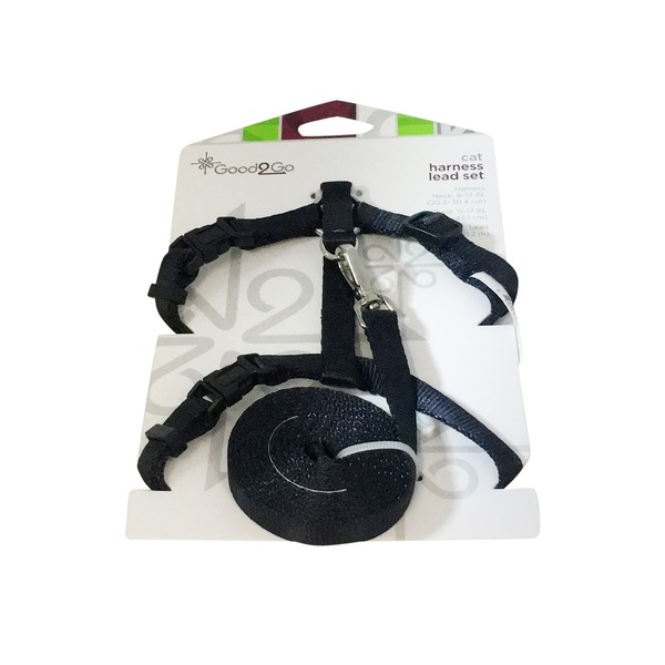 Good 2 Go Black Cat Harness Lead Set