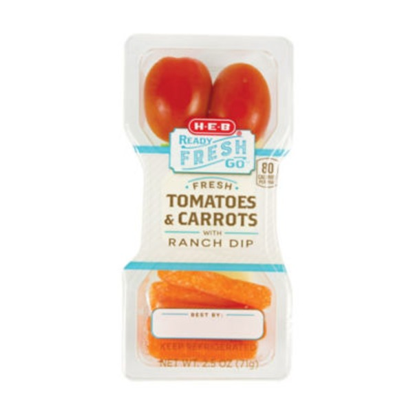 H-E-B Ready Fresh Go! Fresh Tomatoes & Carrots With Ranch Dip