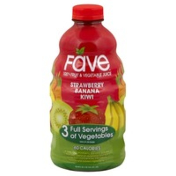 Fave 100% Juice, Fruit & Vegetable, Strawberry Banana Kiwi
