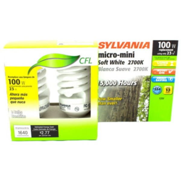Sylvania 23 Watt CFL Micro Mini 2700 K Light Bulbs