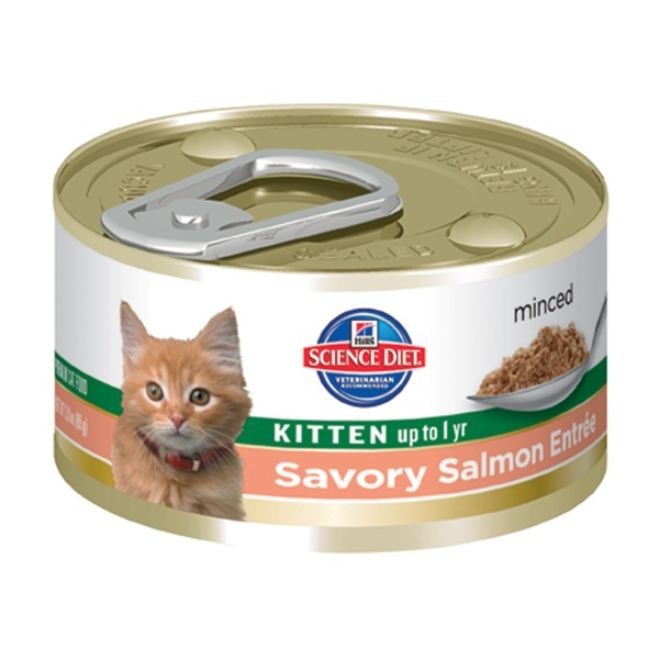 Hill's Science Diet Cat Food, Kitten (Up to 1 Year), Savory Salmon Entree, Minced