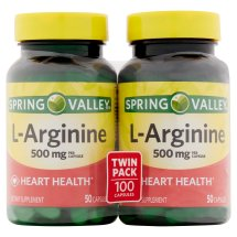 Spring Valley L-Arginine 500mg Twin Pack Capsules, 100 Ct, Pack of 2