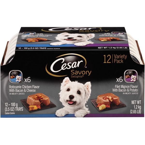 Cesar Canine Cuisine Savory Delights Rotisserie Chicken/Filet Mignon Variety Pack Wet Dog Food