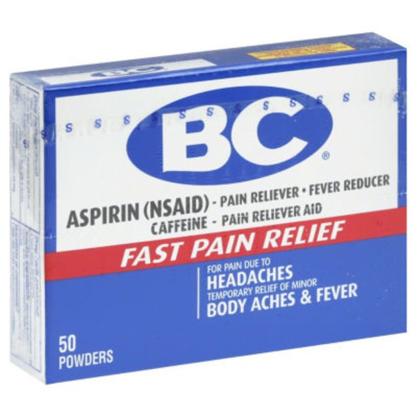 BC Aspirin Pain Reliever Headaches & Body Aches Powders - 50 CT