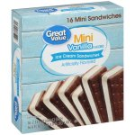 Great Value 100 Calorie Minis Vanilla Flavored Ice Cream Sandwiches, 36.8 oz