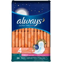 Always Ultra Thin Fresh Size 4 Overnight Pads With Wings, Scented, 24 count