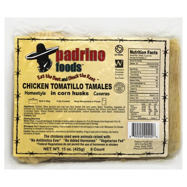Padrino Foods Tamales, Chicken Tomatillo, Homestyle, in Corn Husks