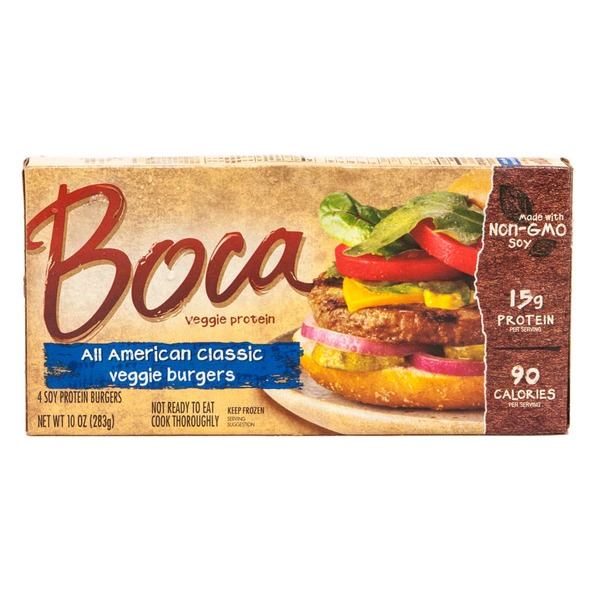 Boca All American Classic Made with Non-GMO Soy Soy Protein Burgers