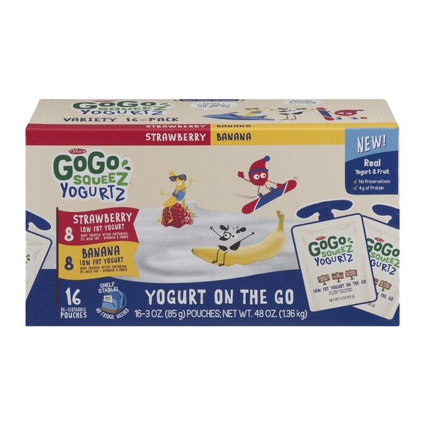 GoGo Squeez Yogurtz GoGo Squeez Yogurtz Low Fat Yogurt Strawberry & Banana- 16 CT