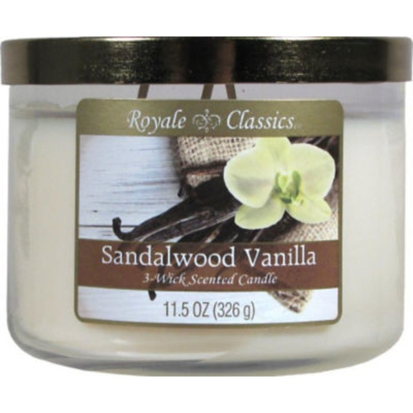 Candle Lite Royale Classics Sandalwood Vanilla 3 Wick Candle