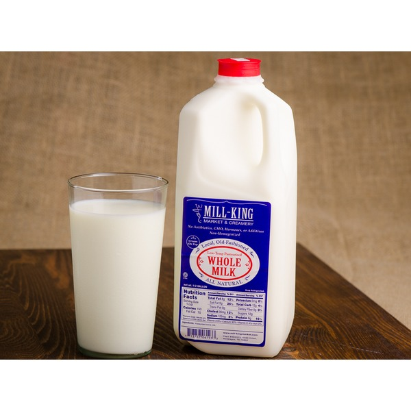 Mill King Creamery Milk, Whole, 1/2 Gallon