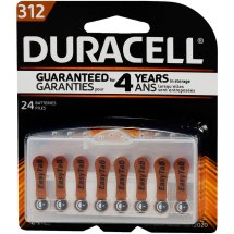 Duracell Easy Tab 312 Hearing Aid Batteries, 24 Count